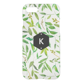 Watercolor Leaves Geometric Personalized Initials iPhone 8/7 Case
