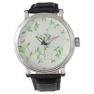 Watercolor leaves pattern watch