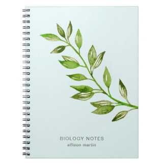 Watercolor Leaves with Subject and Name Spiral Notebook