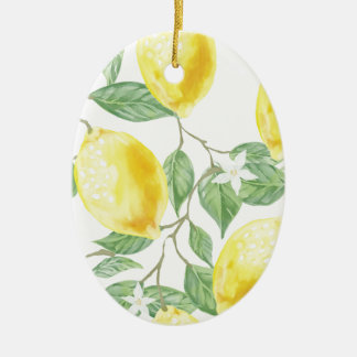 Watercolor Lemon Christmas Ornament