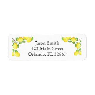 Watercolor Lemon Custom Return Address Label