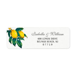 Watercolor Lemon Summer Wedding Address