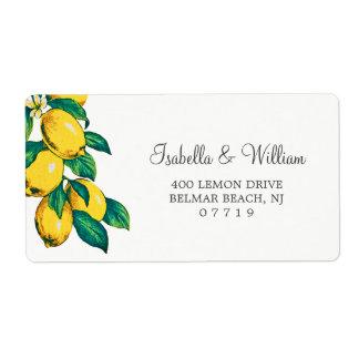 Watercolor Lemon Summer Wedding Address Shipping Label