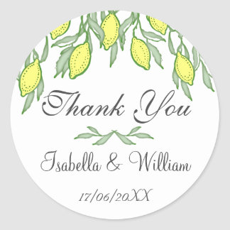 Watercolor Lemon Summer Wedding Thank You Classic Round Sticker