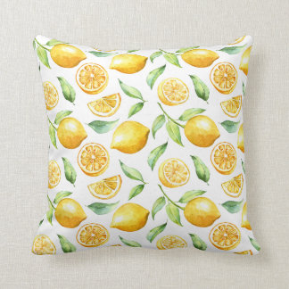 Watercolor Lemons and Green Leaves | Throw Pillow
