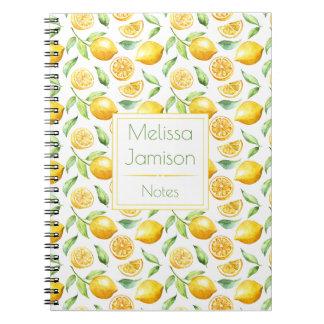 Watercolor Lemons and Leaves Monogram Notebooks
