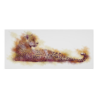 Watercolor Leopard Poster