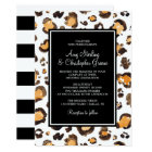 Watercolor Leopard Print & Chic Stripes | Wedding Card