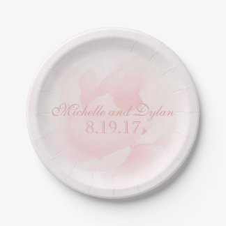 Watercolor Light Pink Peony Wedding Elegant 7 Inch Paper Plate