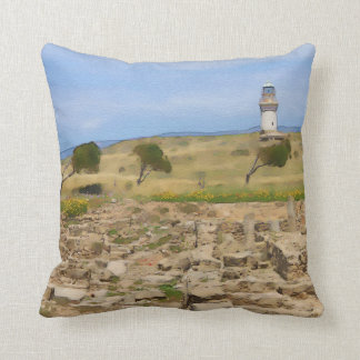 Watercolor lighthouse cushion