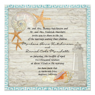 Watercolor Lighthouse Shells Beach Cottage Wedding 13 Cm X 13 Cm Square Invitation Card