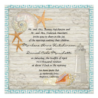 Watercolor Lighthouse Shells Beach Cottage Wedding Custom Invites