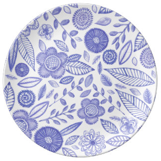 Watercolor Lilac flowers Plate