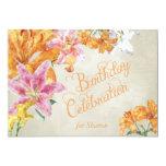 Watercolor Lilies Custom Birthday Invite 13 Cm X 18 Cm Invitation Card