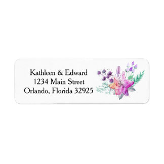 Watercolor Lily Pink & Purple Return Address Label