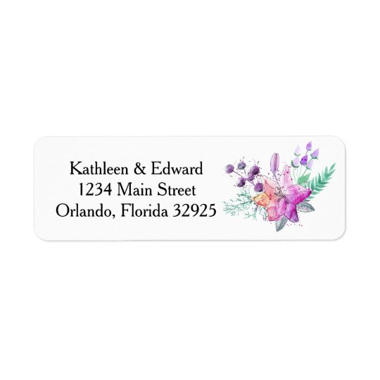 Watercolor Lily Pink & Purple Return Address Label