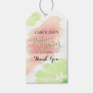 Watercolor Lime Green Peach Floral Baby Shower Gift Tags