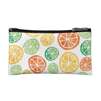 Watercolor limes lemons oranges cosmetics case
