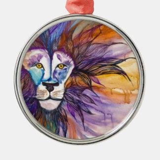 Watercolor Lion Silver-Colored Round Decoration
