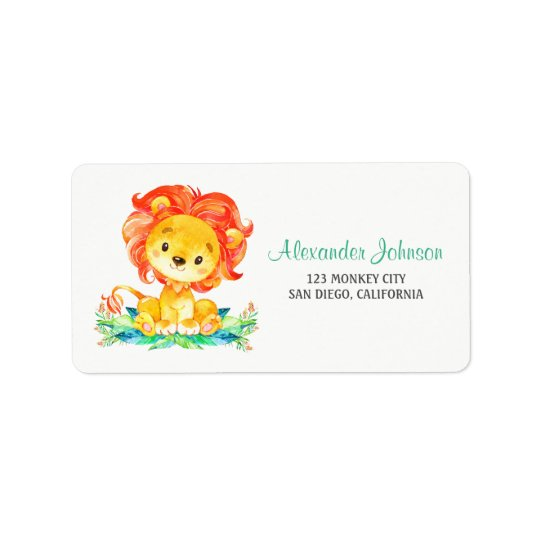 Watercolor Lion Label