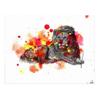 Watercolor Lion Postcard
