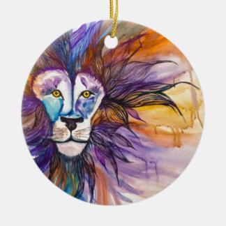 Watercolor Lion Round Ceramic Decoration