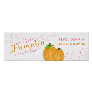 Watercolor Little Pumpkin Fall Girl Baby Shower Poster
