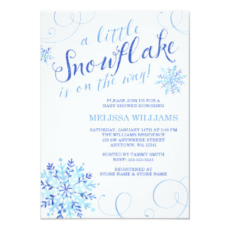 Watercolor Little Snowflake Boy Winter Baby Shower Card