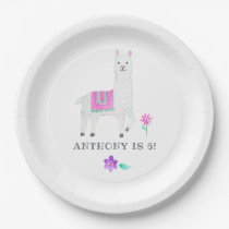 Watercolor Llama Kids Birthday Party Paper Plate