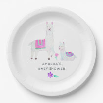 Watercolor Llama themed Baby Shower Paper Plate