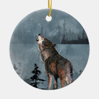 Watercolor Lonely Wolf Howling across Lake Christmas Ornament