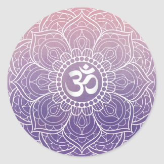 Watercolor Lotus Mandala Namaste Yoga Classic Round Sticker