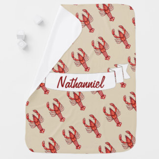 Watercolor Louisiana Cajun Crawfish - Personalized Baby Blanket