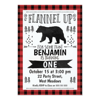 Watercolor Lumberjack 1st Birthday Invitation