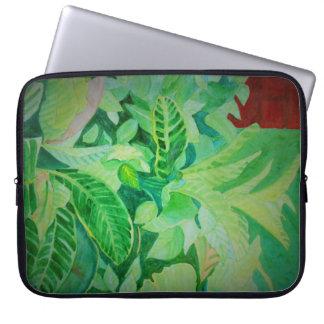 Watercolor Lush Jungle Panama House Laptop Sleeve
