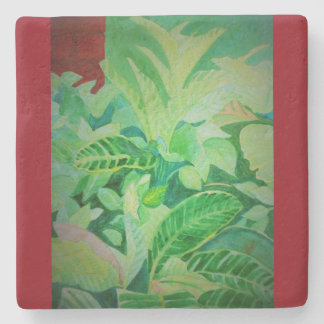 Watercolor Lush Jungle Panama House Stone Coaster