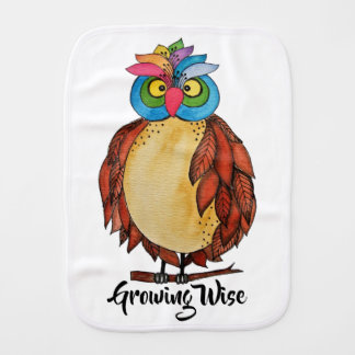 Watercolor Magical Owl With Rainbow Feathers Burp Cloth