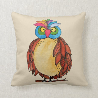 Watercolor Magical Owl With Rainbow Feathers Cushion