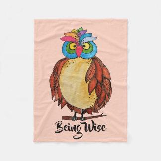 Watercolor Magical Owl With Rainbow Feathers Fleece Blanket