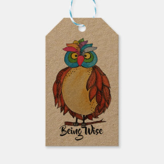Watercolor Magical Owl With Rainbow Feathers Gift Tags