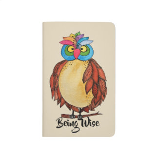 Watercolor Magical Owl With Rainbow Feathers Journal