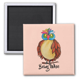 Watercolor Magical Owl With Rainbow Feathers Magnet