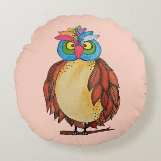 Watercolor Magical Owl With Rainbow Feathers Round Cushion