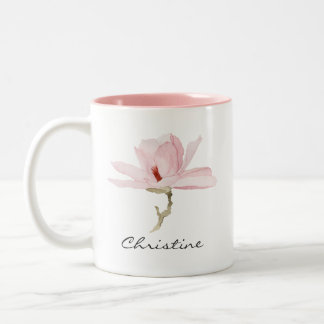 Watercolor Magnolia Blossom with Your Name Two-Tone Coffee Mug