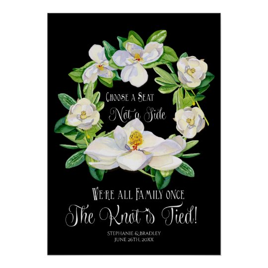 Watercolor Magnolia Wreath Black White Modern Art Poster