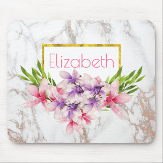 Watercolor Magnolias, Faux Marble Texture Custom Mouse Mat