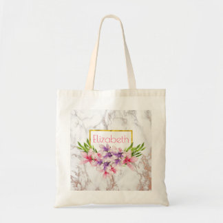 Watercolor Magnolias, Faux Marble Texture Custom Tote Bag