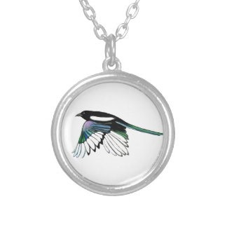 Watercolor Magpie Bird in Flight Nature Art Silver Plated Necklace