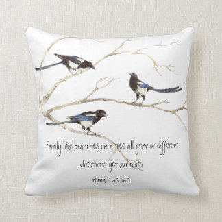 Watercolor Magpie Family Quote Animal Nature Throw Pillow