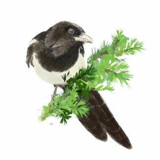 Watercolor Magpie, Garden Bird Standing Photo Sculpture
